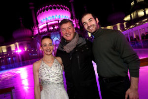 Skaters Zoe Wilkinson and Christopher Boyadji with Robin Cousins Grand opening of Brighton's Royal Pavilion Ice Rink 2016. Pictured is action from the event. Thursday 3rd November 2016. Photograph by Sam Stephenson, 07880 703135, www.samstephenson.co.uk.
