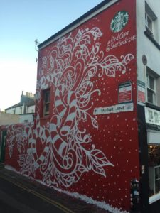 The second mural, painted on Friday. Photo by Anna Clark