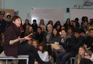 Caroline Lucas at a meeting of the BHASVIC Feminist Society