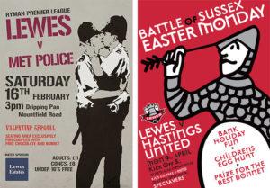 lewes-fc-matchday-poster-v-met-police-banksy-kissing-policemen-and-v-hastings