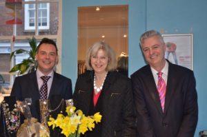 Simon Dowe with Theresa May and Simon Kirby