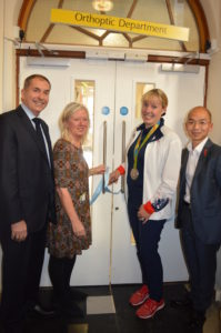 Olympic equestrian Fiona Bigwood celebrates the £3 million makeover of the Sussex Eye Hospital with hospital trust chairman Tony Kildare, head of orthoptics Joy White and project manager Dixon Au