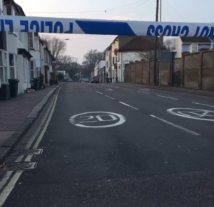 Police closed off Upper Hollingdean Road and evacuated homes. Image by resident Victoria Scarfield
