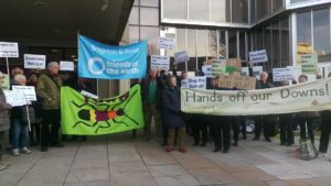 A protest was held outside Hove Town Hall over the proposed sale of downland - Picture by Brenda Pollack
