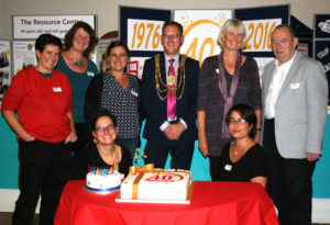 Resource Centre workers with Mayor 40th anniversary 2016
