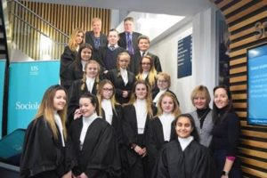 Sussex University Law School criminal advocacy competition with year 10 students from Sackville School, St Catherine's College, Hove Park School and Sir Robert Woodard Academy