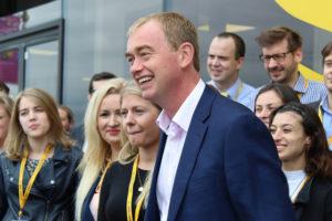 Tim Farron arriving at the Brighton Centre last September