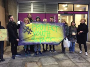 Protesters campaign against youth service cuts outside Hove Town Hall