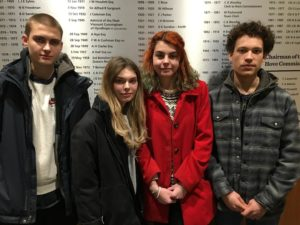 Youth service protesters at Hove Town Hall, from left, Seb Royle, Boudicca Pepper, Max Coles-Morley and Elijah Peart