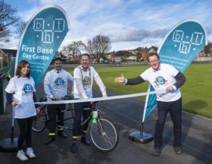 Brighton and Hove mayor Pete West  launches Brighton Housing Trust's Around the World Cycle Challenge with his driver Robbie Robertson and Sara Peskett and Andy Winter from BHT