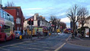 Fire engines at Sackville Road, Hove. Picture by Grace Walker