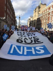 Save Our NHS demo London 20170304-3 Sussex and Brighton Students (SABS)