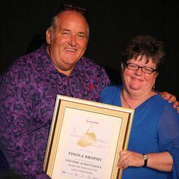 James Ledward Hands The Lifetime Achievement Award To Finola Brophy