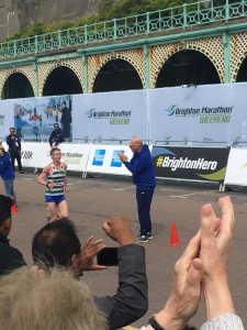 Stuart Hawkes, 40, snatched first place in the final two miles of the 2018 Brighton Marathon, after chasing down Dan Nash at mile 25.  Picture by Tamara Birch