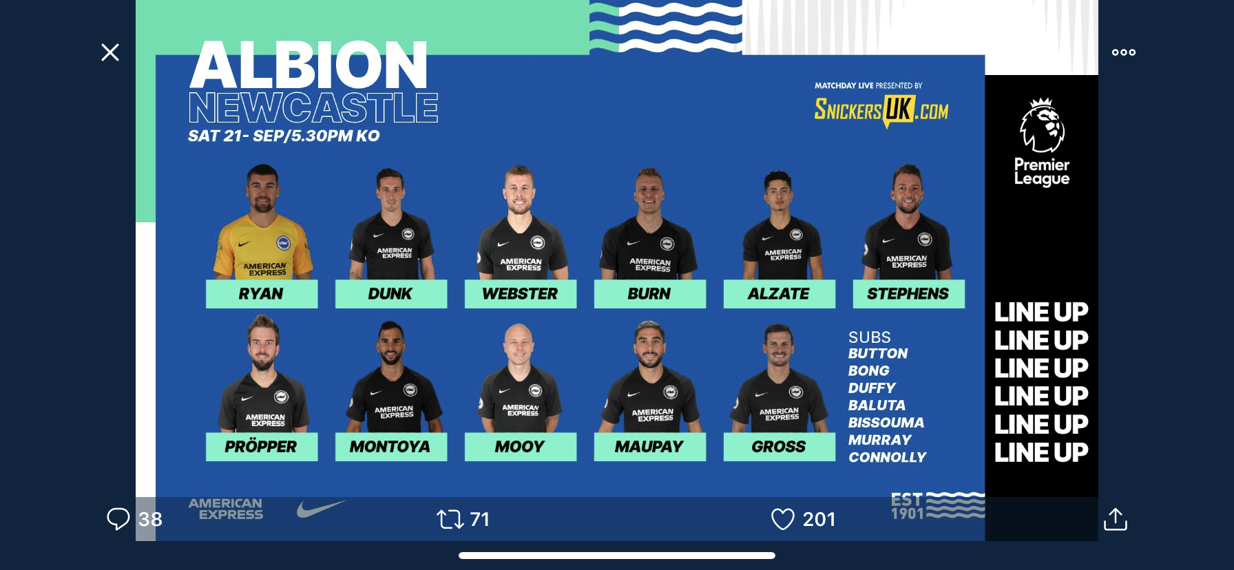 Premier League Match Day 6 – Newcastle United v Brighton & Hove Albion – Starts for Alzate and Mooy