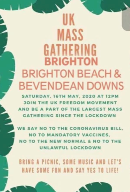 Brighton And Hove News Anti Lockdown Protesters Plan Mass Gatherings In Brighton